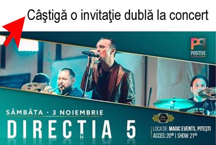 Câştigă o invitaţie dublă la Direcţia 5 în concert la Piteşti
