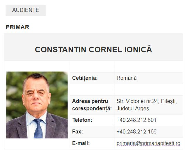 Cornel Ionică, încă primar pe site-ul Primăriei