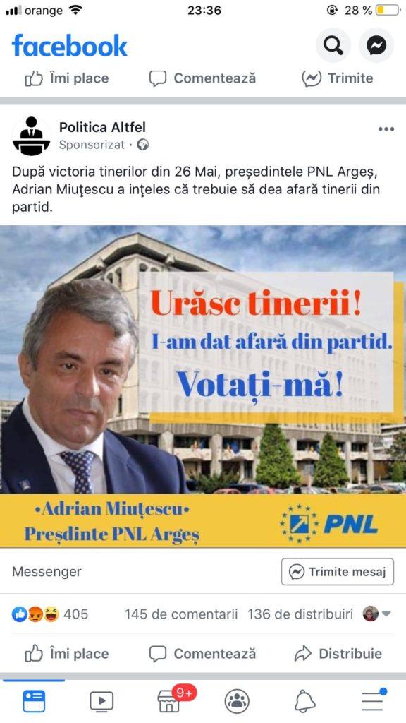 Miuţescu, ironizat pe Facebook de tineri din PNL