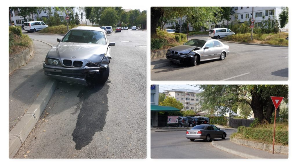 BMW buşit şi abandonat pe domeniul public