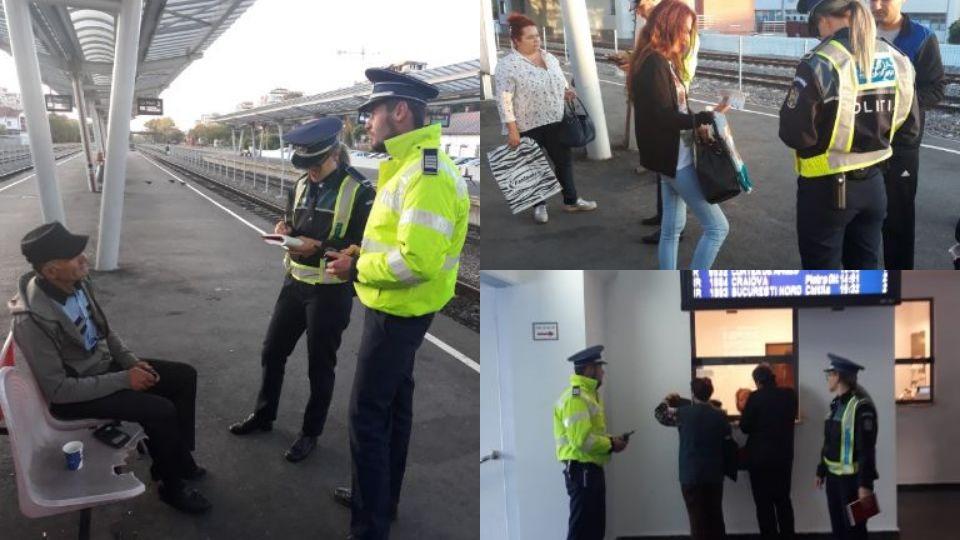 Poliţiştii, verificări în gară