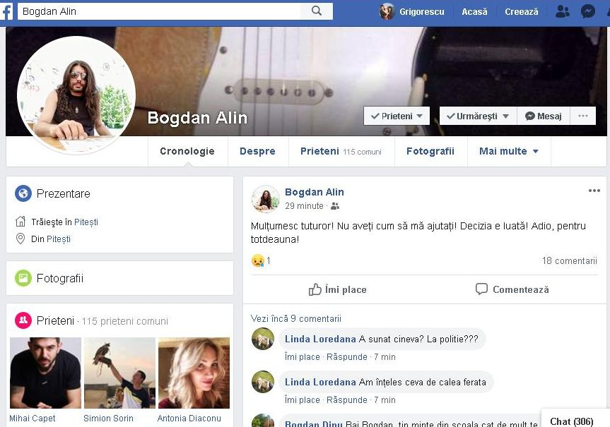 Un piteştean a anunţat pe Facebook că se SINUCIDE! Urmarea...