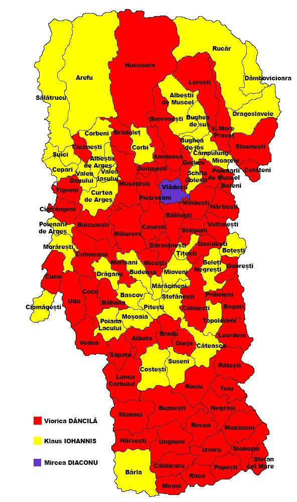 Harta ALEGERILOR prezidențiale în Argeș, înainte de BĂTĂLIA FINALĂ