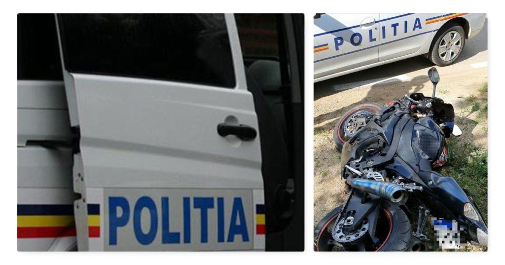URMĂRIT, A INTRAT CU MOTORUL ÎN DUBA POLIŢIEI
