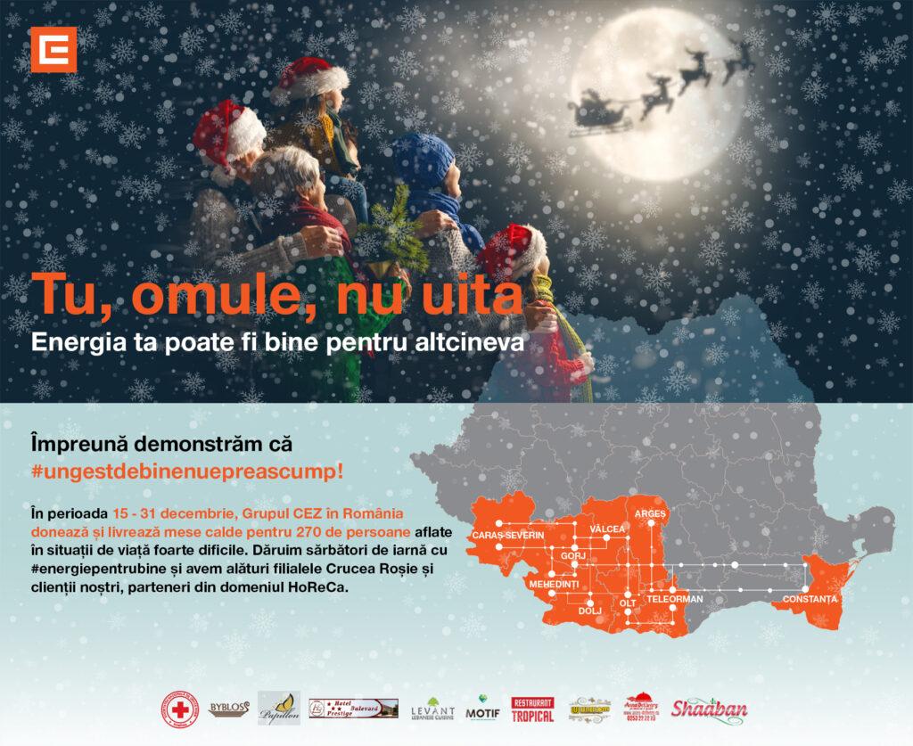 Grupul CEZ în România pune sub brad campania #ungestdebinenuepreascump și asigură mese calde pentru persoane defavorizate din 9 județe, cu sprijinul Crucii Roșii Române