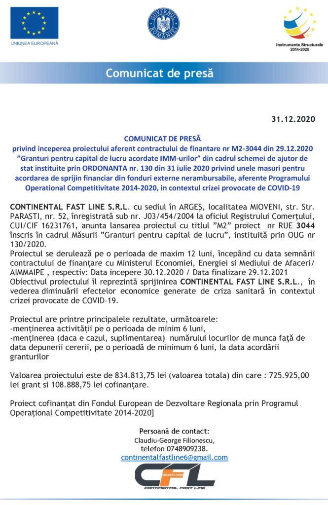 ANUNȚ ÎNCEPERE PROIECT - CONTINENTAL FAST LINE SRL
