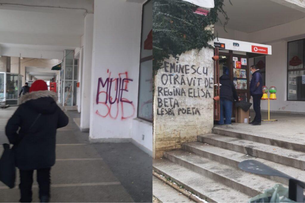 """INSCRIPȚII CU IZ PENAL SCRIJELITE PE CLĂDIRILE DIN PIAȚA ,,MILEA"""""""