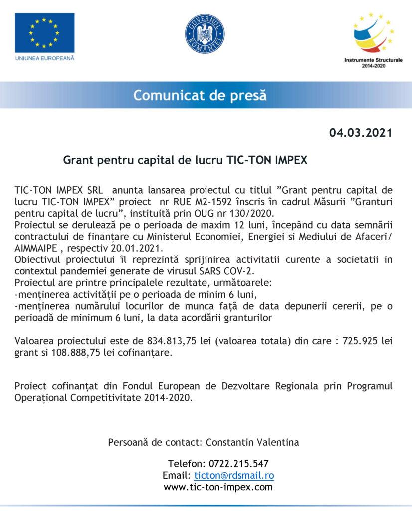 ANUNȚ LANSARE PROIECT SC TIC-TON IMPEX SRL