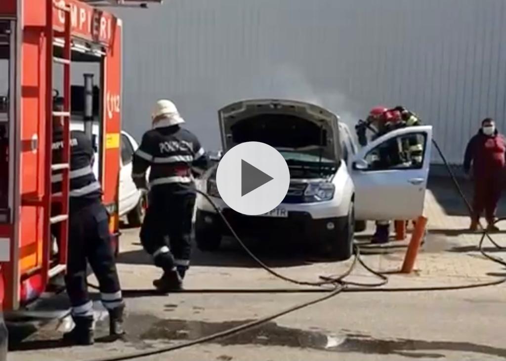 VIDEO: INCENDIU AUTO ÎN PARCAREA SUPERMARKETULUI CARREFOUR