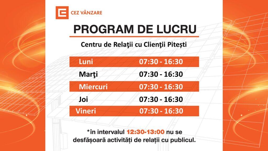 Începând de luni, 26.04.2021, Centrul de Relații cu Clienții din Pitești își prelungește programul de lucru