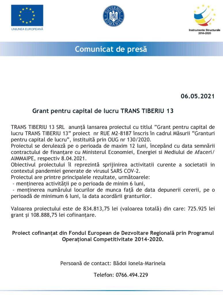 SC TRANS TIBERIU 13 SRL - ANUNŢ LANSARE PROIECT