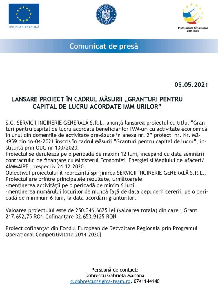 SC SERVICII INGINERIE GENERALĂ SRL - ANUNŢ LANSARE PROIECT