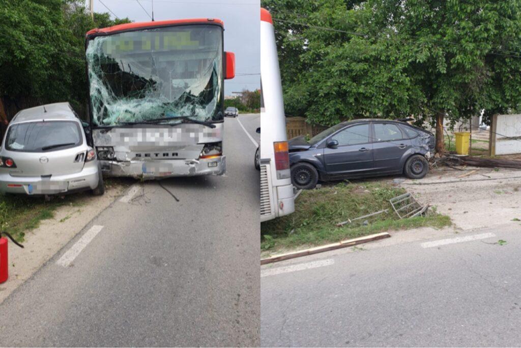 Accident în Argeș. A intrat cu autobuzul în două maşini
