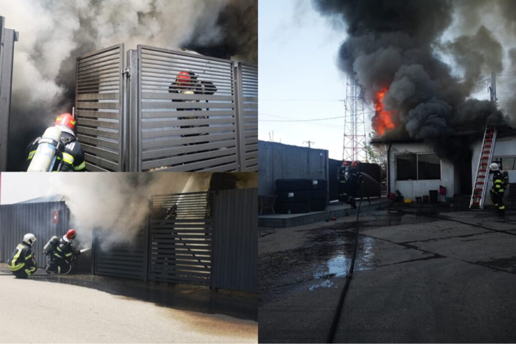 Acum! Incendiu puternic la o fabrică din Bradu