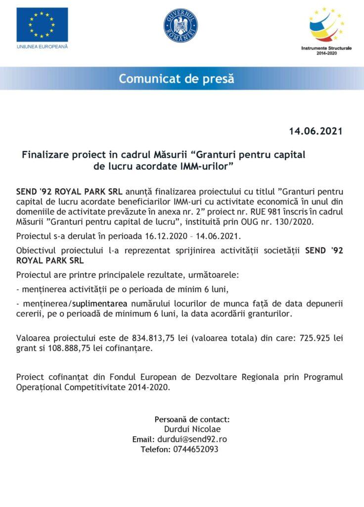 COMUNICAT DE PRESĂ FINALIZARE PROIECT SC SEND '92 ROYAL PARK SRL