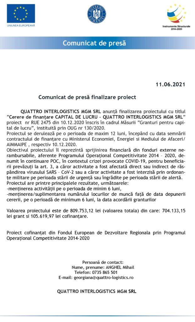 Comunicat de presă finalizare proiect QUATTRO INTERLOGISTICS MGM SRL