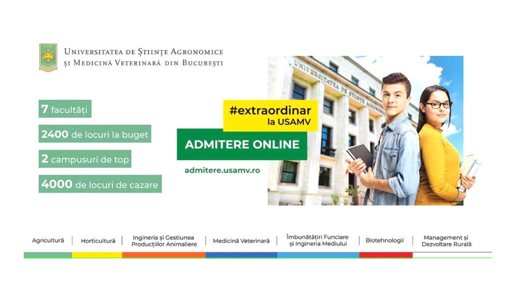 Admitere USAMV București: 1-23 Iulie 2021