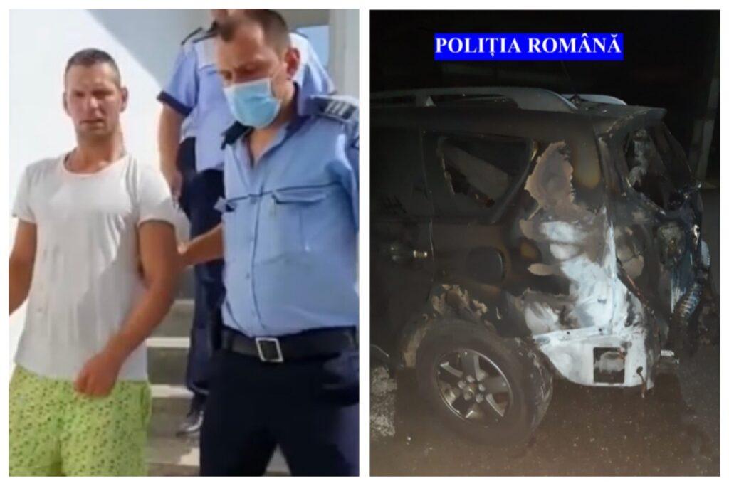 Video: Reținut după ce a incendiat o mașină în Argeș