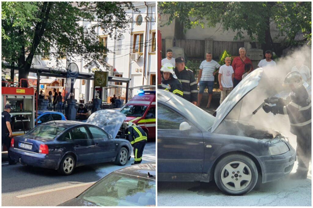O mașină a luat foc în Pitești