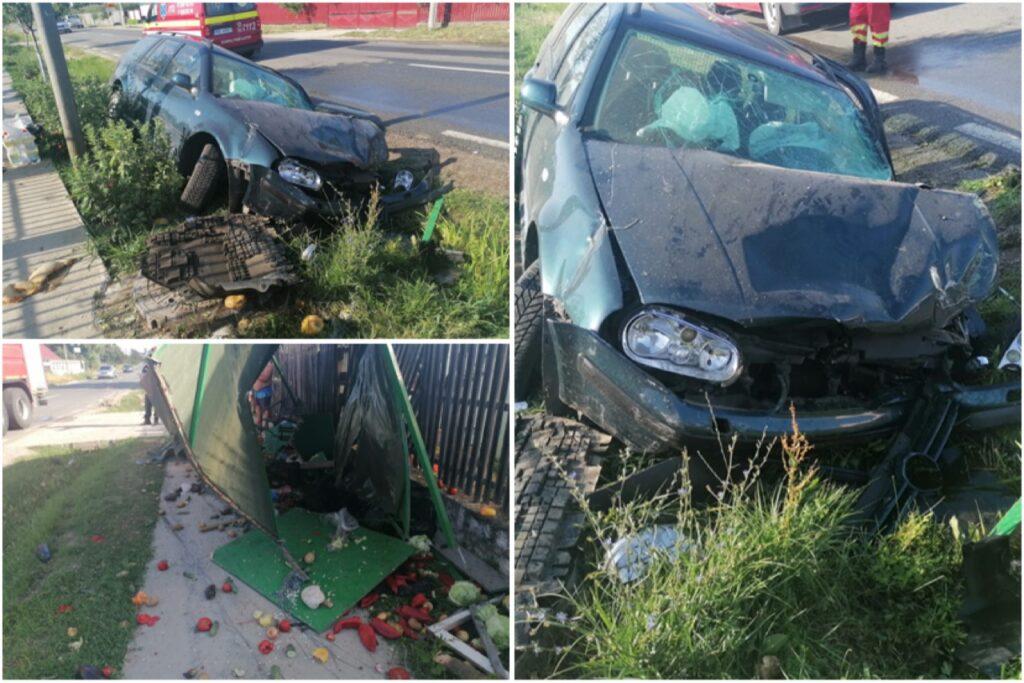 A intrat cu mașina în stâlp, lovind și o tarabă în Argeș!