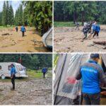 """Turiștii blocați de inundații, evacuați la cabana ,,Apelor"""""""