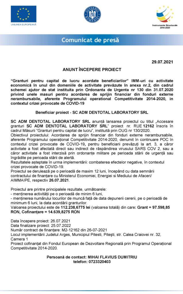 ANUNȚ ÎNCEPERE PROIECT SC ADM DENTOTAL LABORATORY SRL