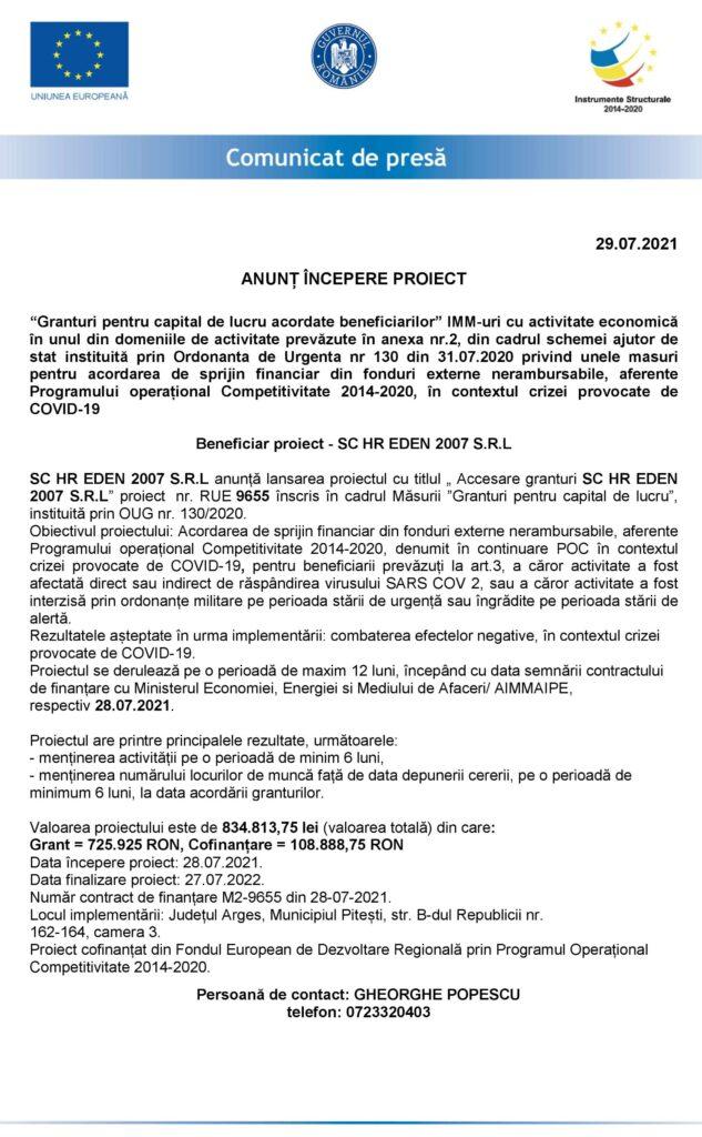 ANUNȚ ÎNCEPERE PROIECT SC HR EDEN 2007 SRL
