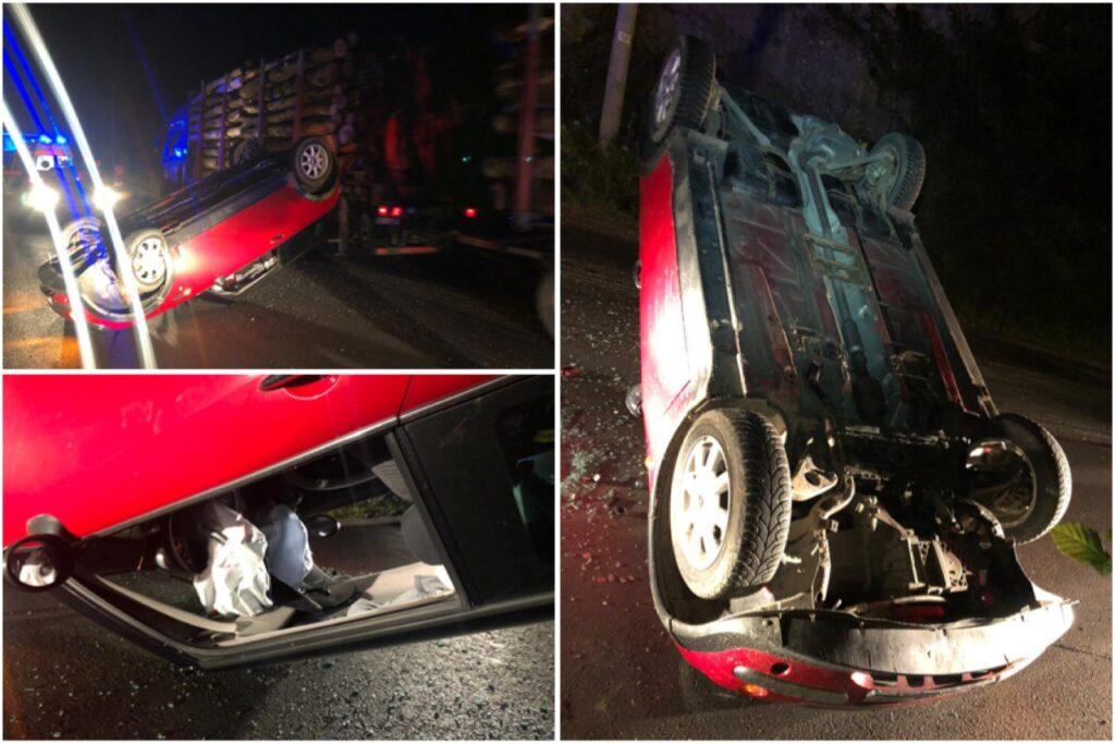 S-a urcat băut la volan şi a răsturnat MINI Cooper-ul