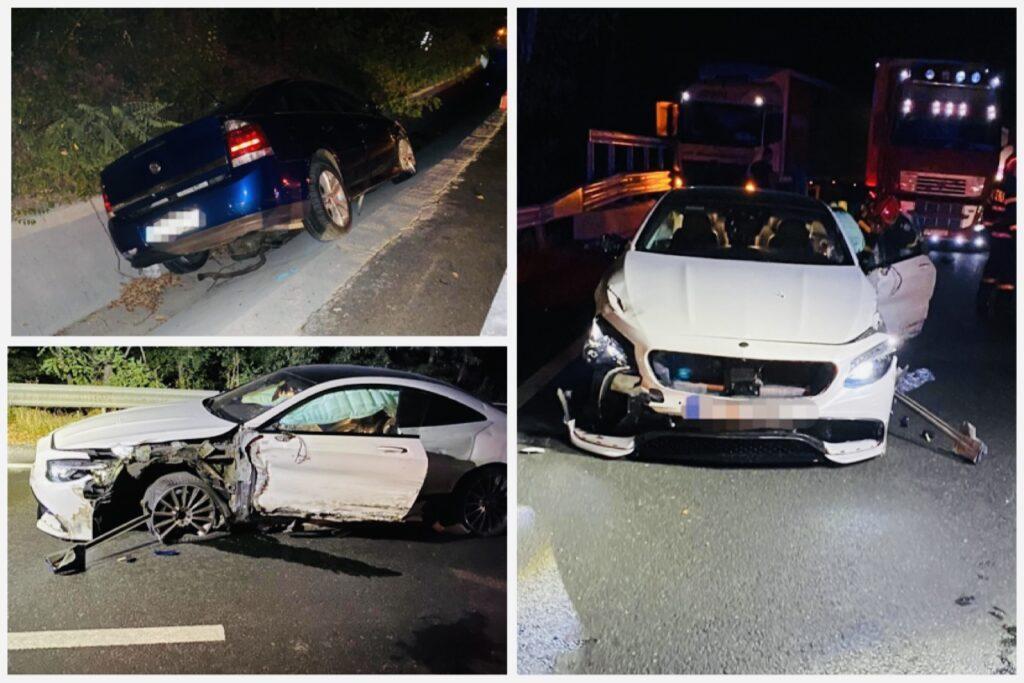 Accident cu două tiruri și două autoturisme implicate în Argeș