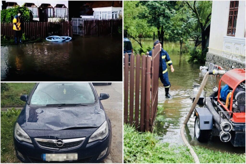 (Video) Mașini distruse, case și curți inundate în Argeș