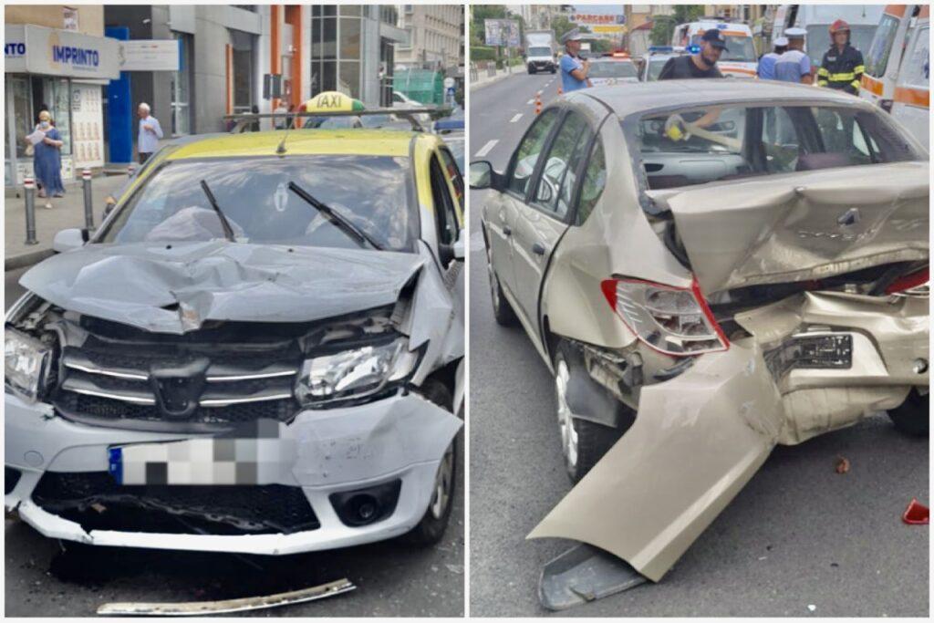 Accident în Pitești, tânără rămasă blocată în mașină