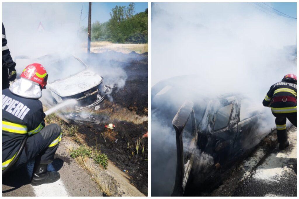 Video: O mașină a luat foc acum, la Drăganu