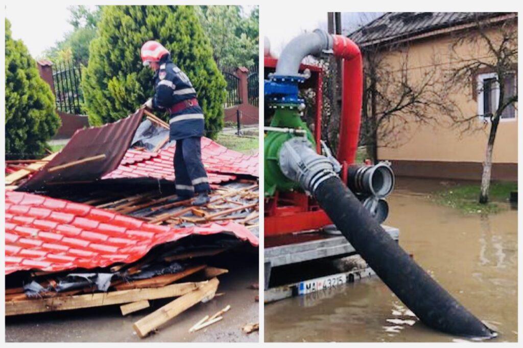 Acoperiș luat de vânt și curți inundate în Argeș