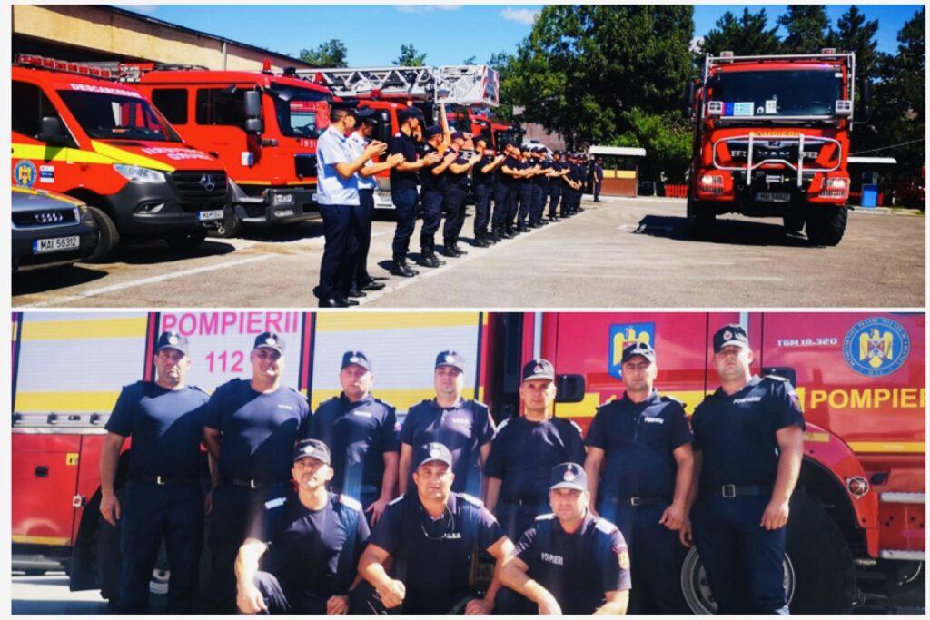 Pompierii argeșeni reveniți din Grecia, primiți cu aplauze de colegi