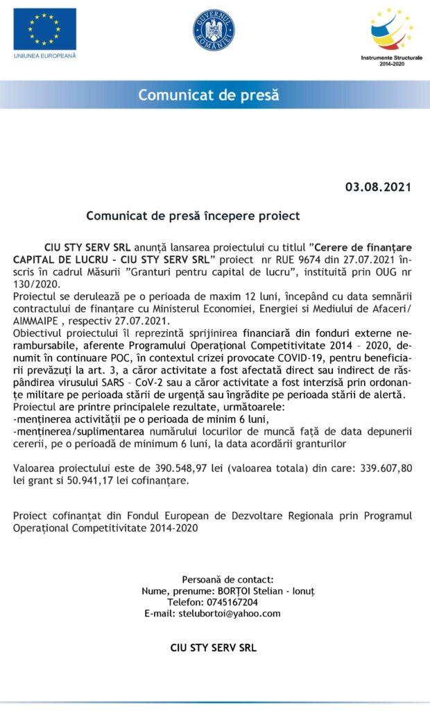 COMUNICAT DE PRESĂ ÎNCEPERE PROIECT CIU STY SERV SRL