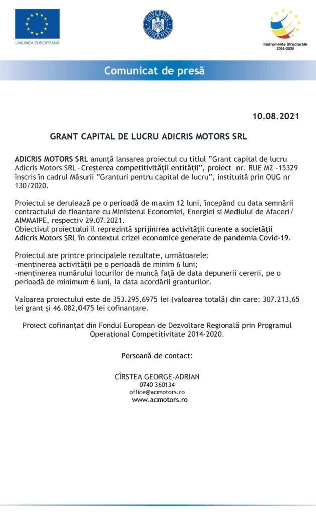 COMUNICAT DE PRESĂ LANSARE PROIECT ADICRIS MOTORS SRL