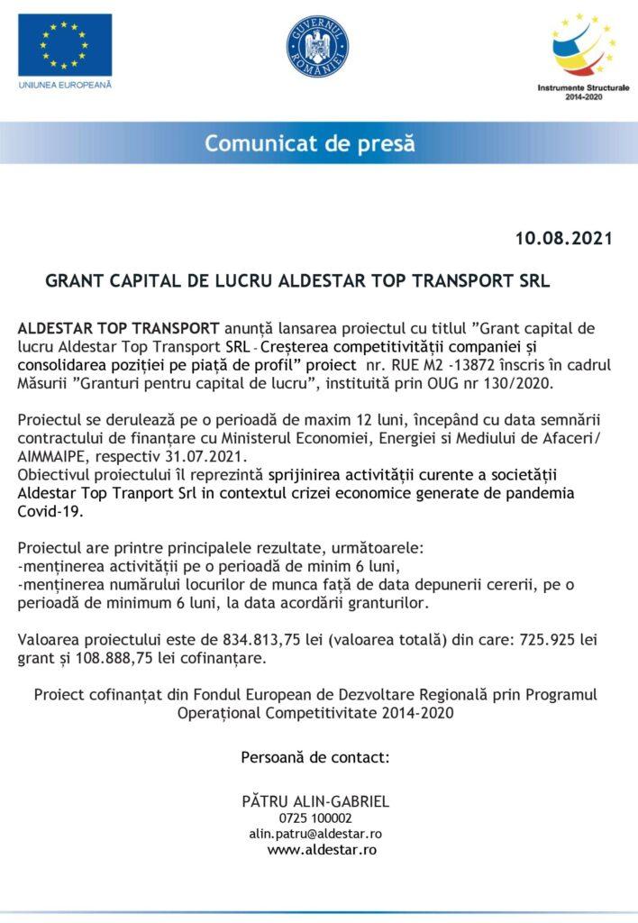 COMUNICAT DE PRESĂ LANSARE PROIECT ALDESTAR TOP TRANSPORT SRL