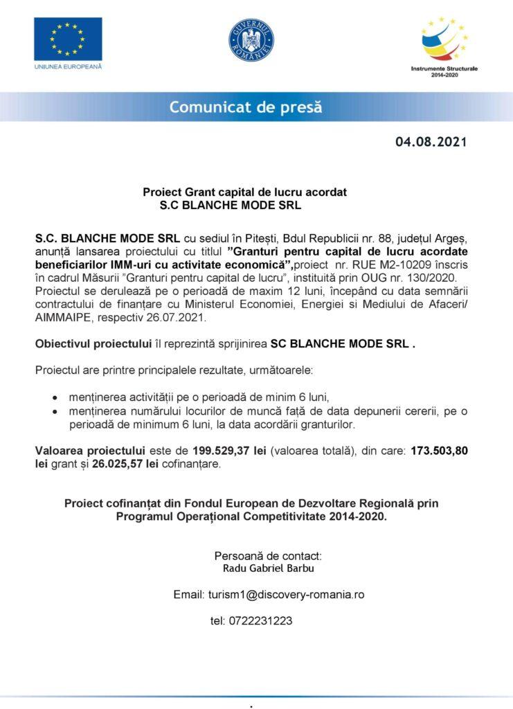 COMUNICAT DE PRESĂ LANSARE PROIECT SC BLANCHE MODE SRL