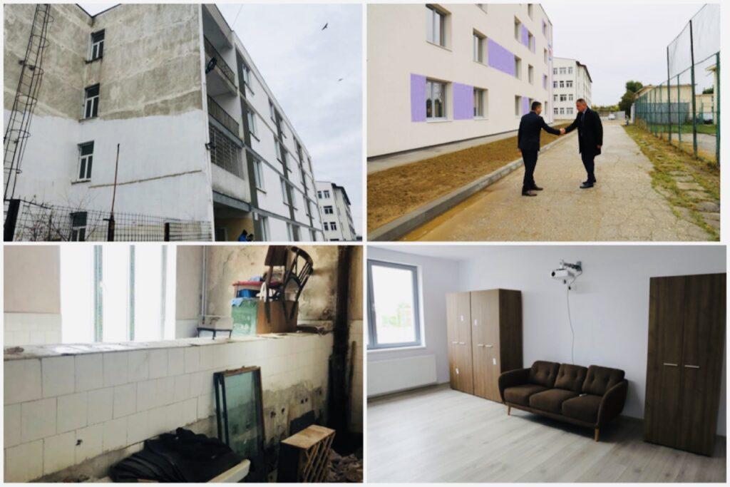 Cămin școlar din Pitești, înainte și după reabilitarea de milioane