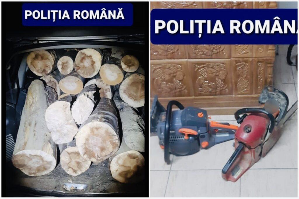 Bărbați prinși cu bușteni tăiați ilegal și drujbe în Argeș