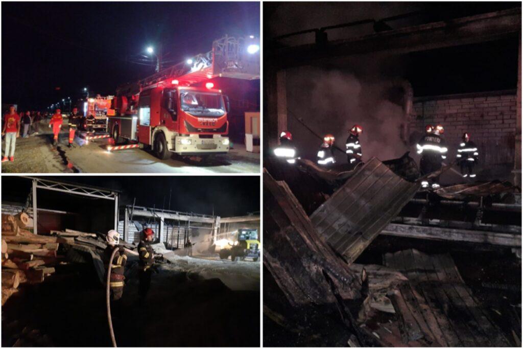 Incendiu la o hală în Argeș. Focul s-a propagat și la casele vecine