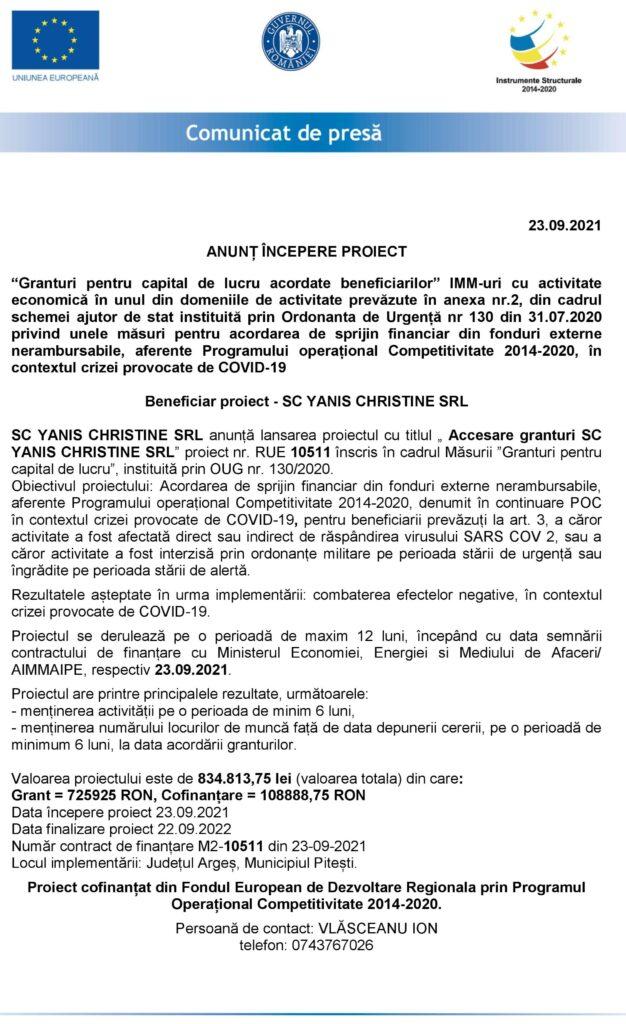 ANUNȚ ÎNCEPERE PROIECT SC YANIS CHRISTINE SRL