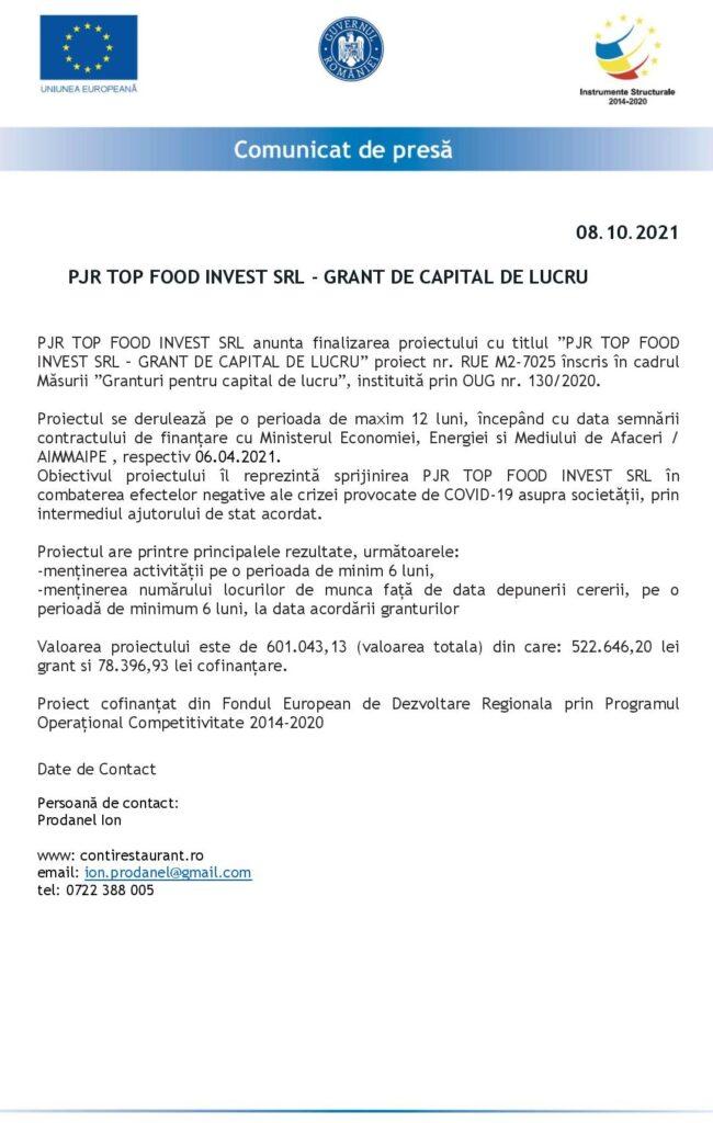 ANUNȚ FINALIZARE PROIECT PJR TOP FOOD INVEST srl