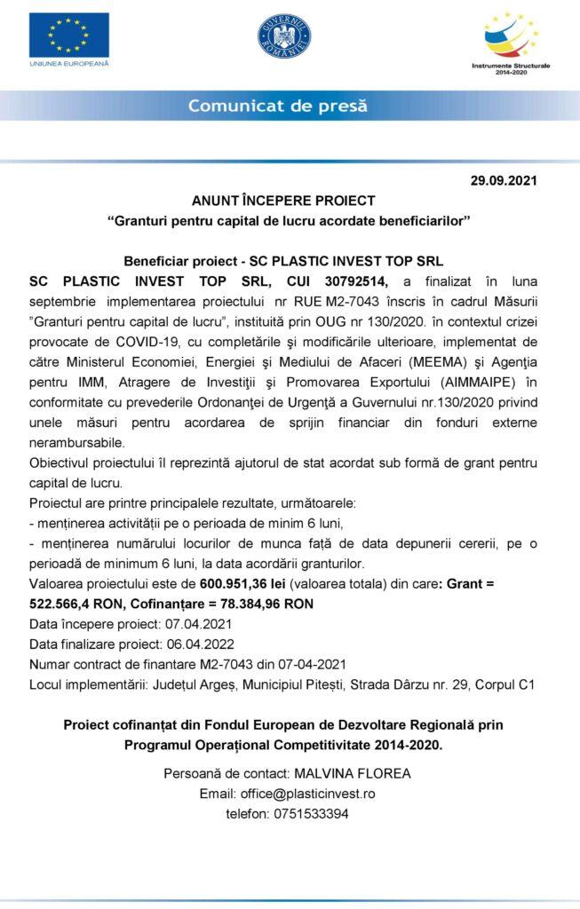ANUNȚ ÎNCEPERE PROIECT SC PLASTIC INVEST TOP srl
