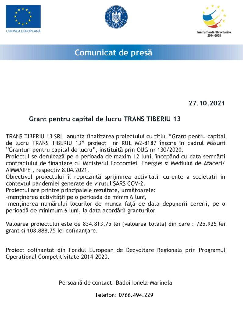 ANUNȚ FINALIZARE PROIECT SC TRANS TIBERIU 13 SRL
