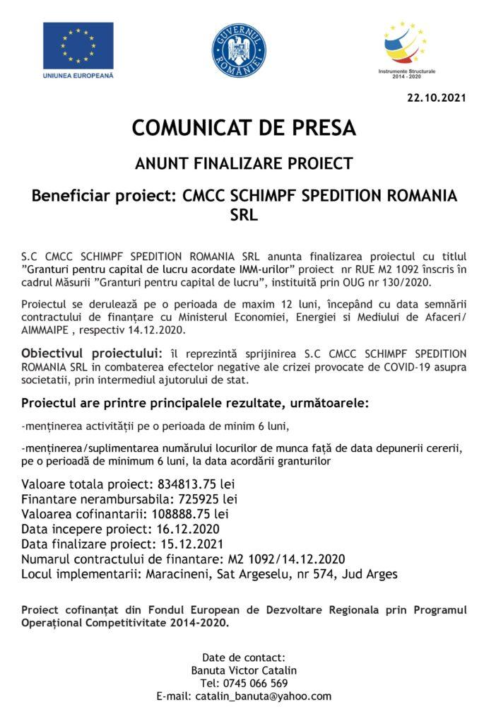 FINALIZARE PROIECT CMCC SCHIMPF SPEDITION ROMANIA SRL